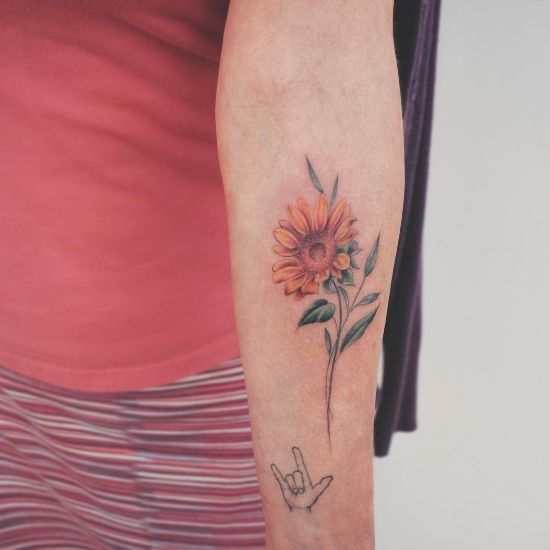 best Minimalist sunflower tattoo ink