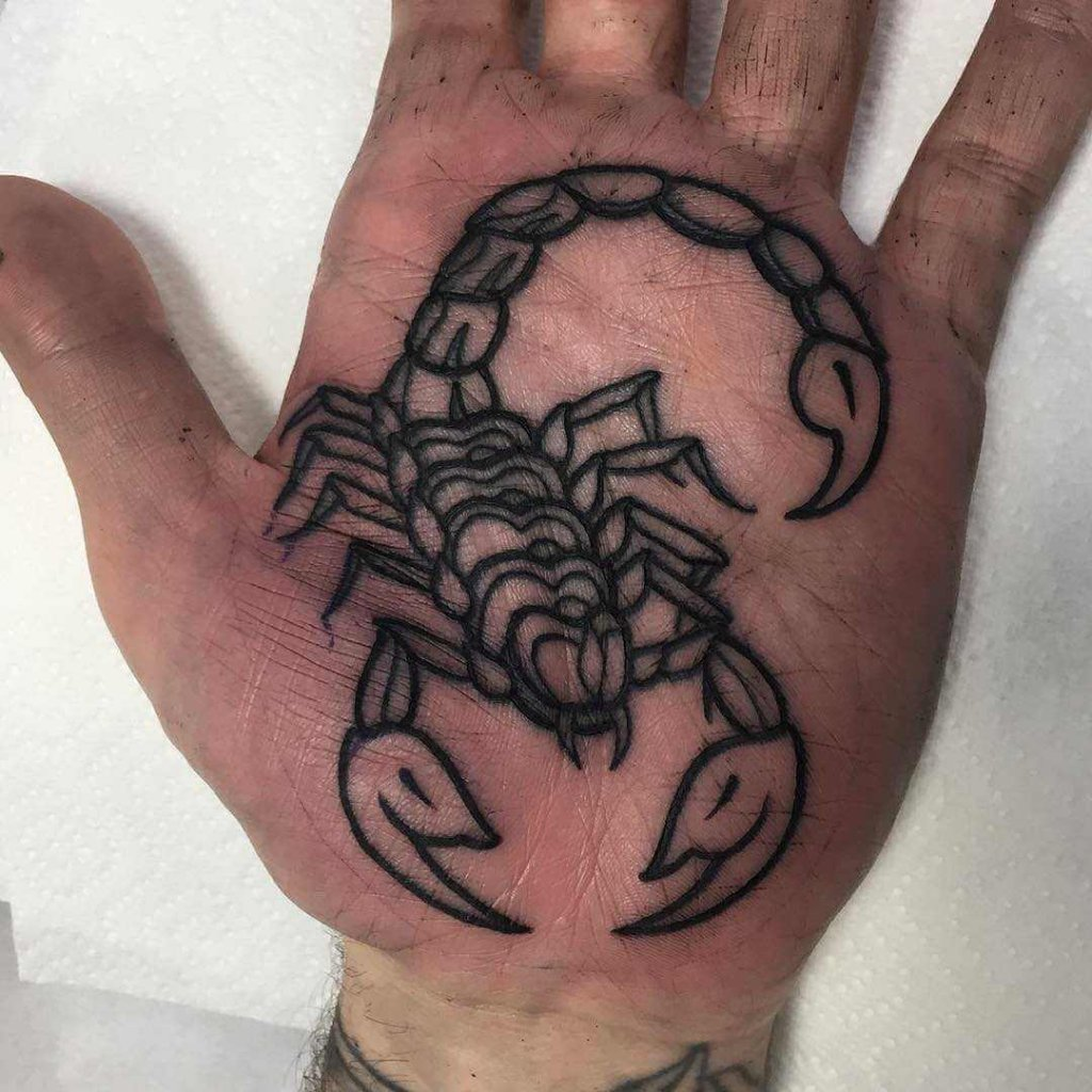 Scorpion Tattoo On A Palm