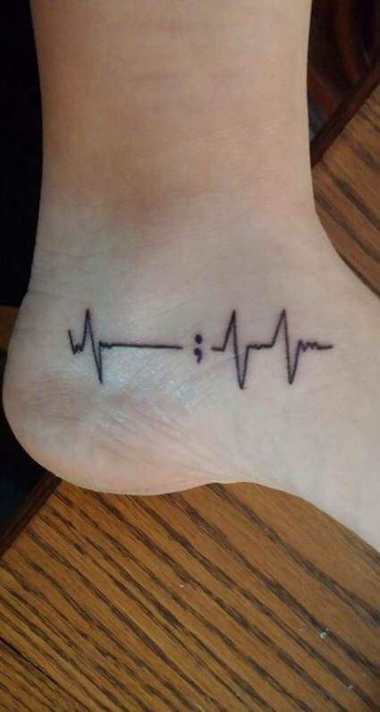 Semicolon heartbeat tattoos