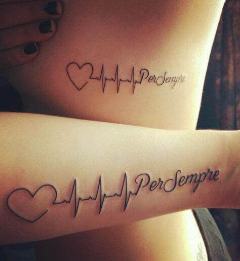 Unique heartbeat Couple matching tattoo