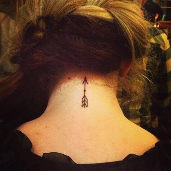 Arrow Small neck Tattoo For Women