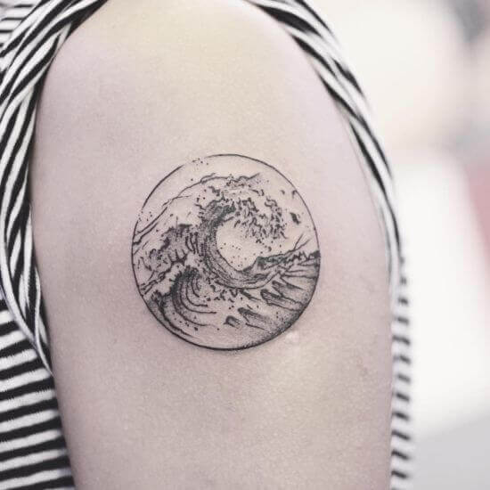 Beautiful Shoulder wave tattoo designs