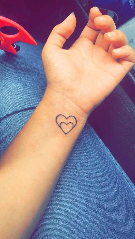Best Small Double Heart Tattoo Girl's Hand