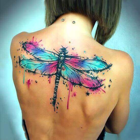 Big Watercolor dragonfly tattoo on Back