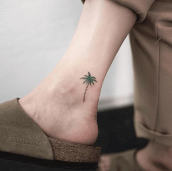 Coconut Tree Small Tattoo on Anl;e