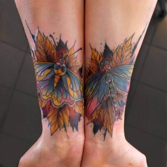 Colorful wrist matching tattoo