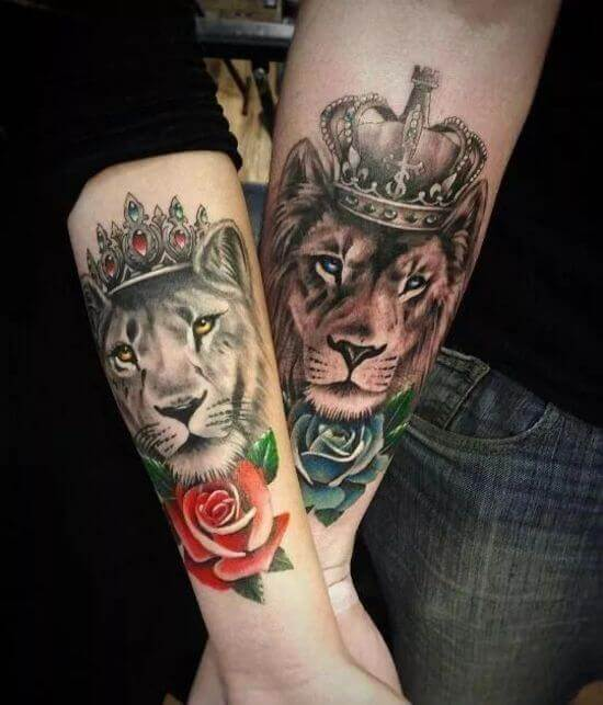 Couple Lion Tattoo with Crown Designs