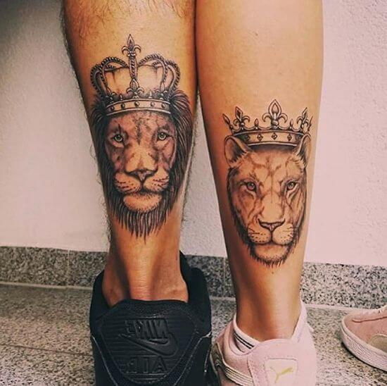 Couple Lion tattoo ideas with Crown