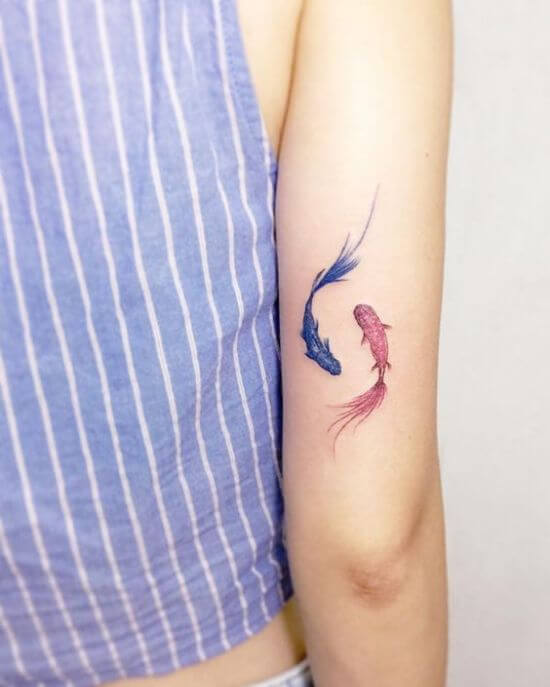Cute Pisces Fish Tattoo For Girls