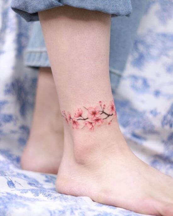 Delicate Small Anklet Tattoo for Women