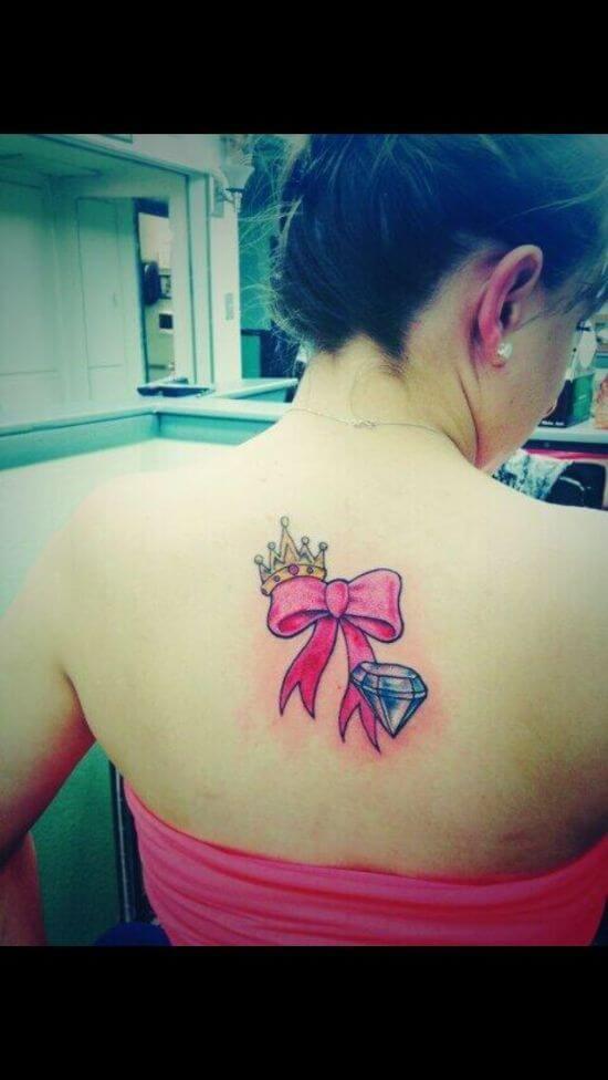 Diamond Ribbon Tattoos Designs on Girl's Back