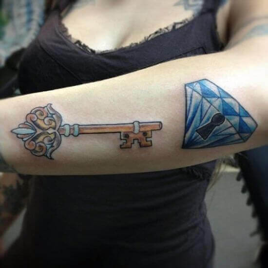 Diamond with Lock and Key Tattoo on Girl Arm