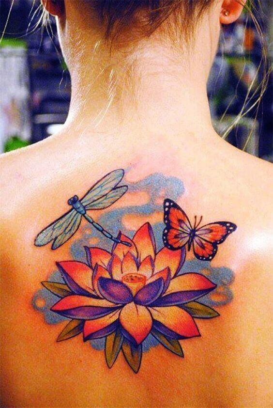 Dragonfly and butterfly tattoos