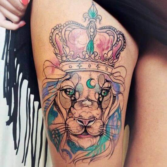 Girl Thigh Lion With Crown Tattoo designs