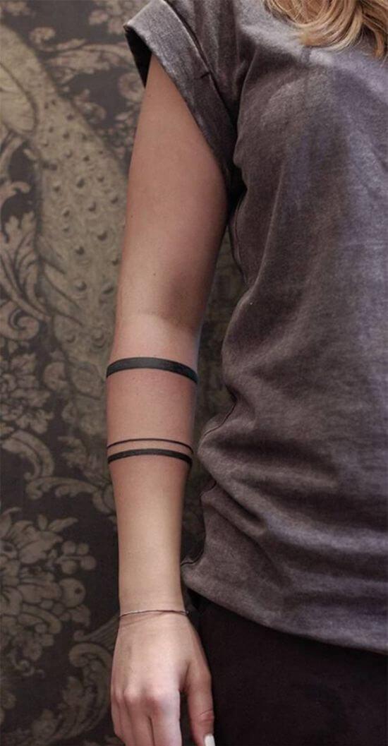 Girls Solid Band Tattoo Ideas