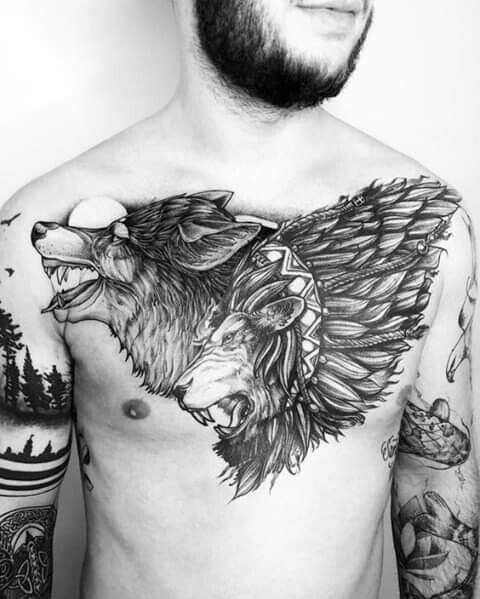 Grey Tattoo in chest
