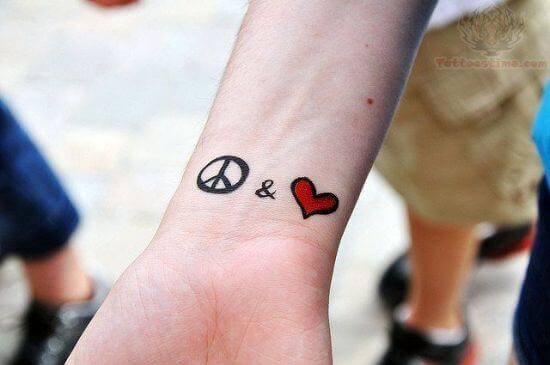 Heart With Peace Symbol Small Tattoo