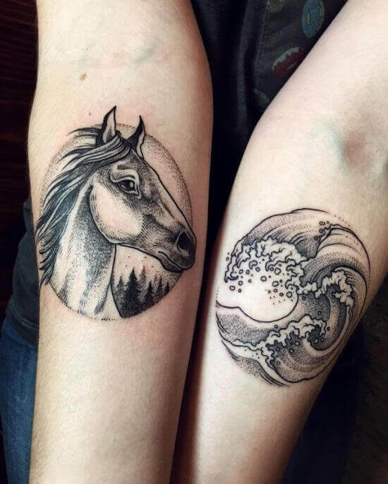 Horse and wave circle tattoos