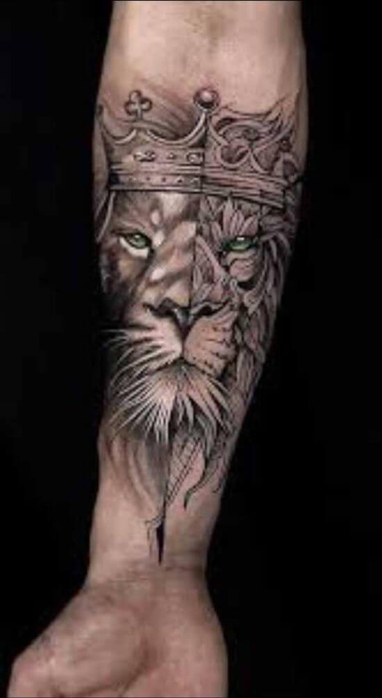 King Lion Tattoo art on Arm