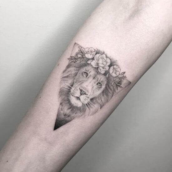 Lion Floral Crown tattoo designs