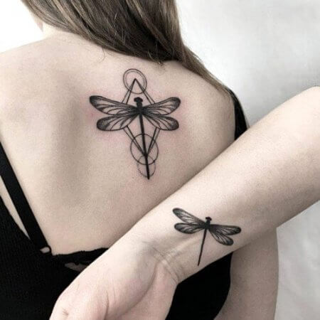 Matching dragonfly tattoo designs