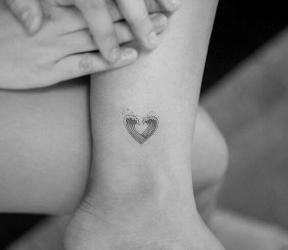 Minimalist heart shape wave tattoo designs 2021