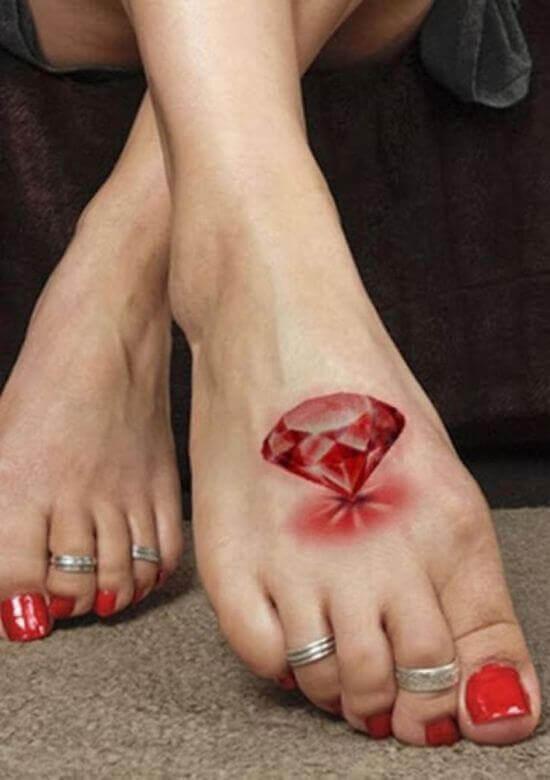 Red Diamond Tattoo on Foot