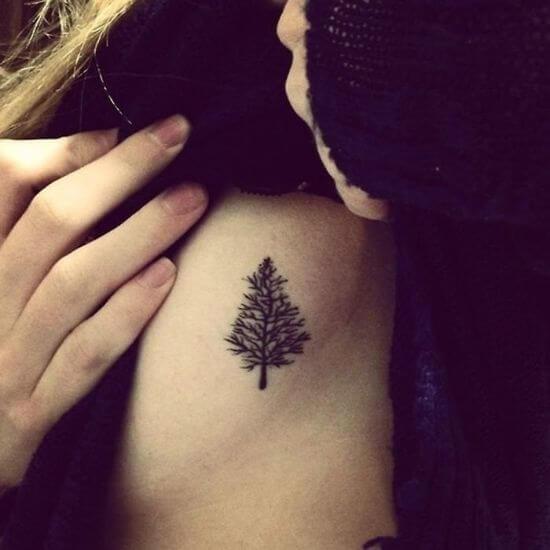 Small Christmas Tree Tattoo for Women