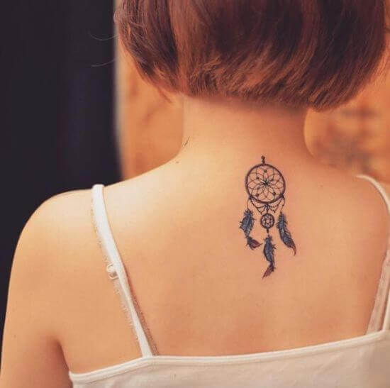 Small Dreamcacher Back Tattoo for Girl