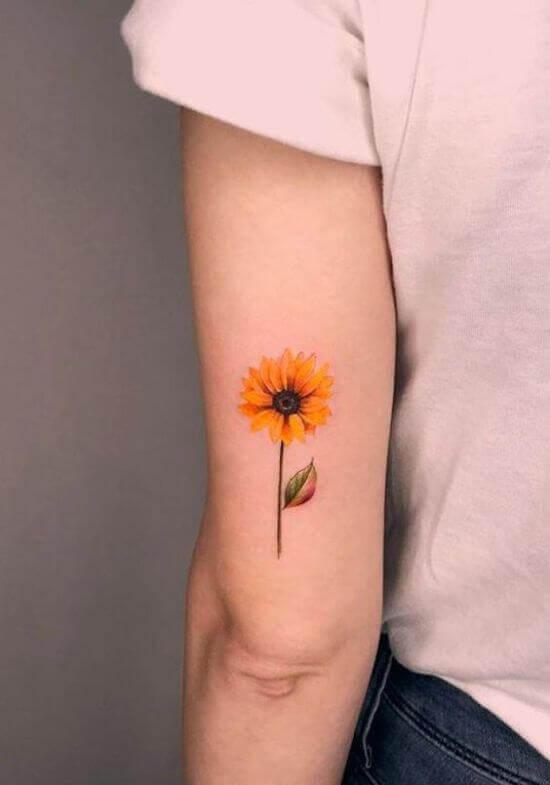 Small Sunflower Small Tattoo on women backarm