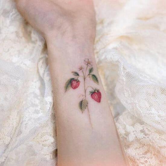 Strawberry Tattoo Ideas on Arm