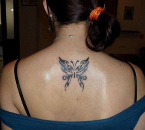 Tribal Butterfly Small Back Tattoo