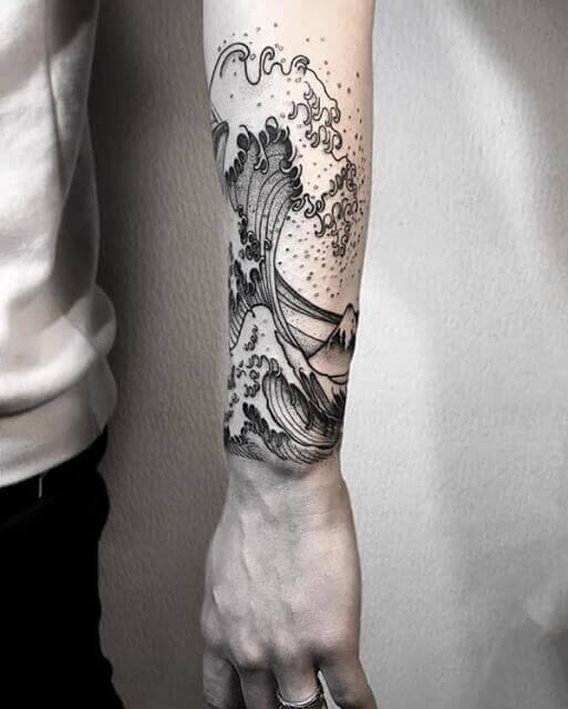 Wave sleeve tattoos