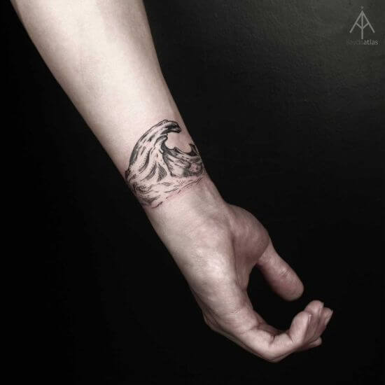 Wave tattoo wrist