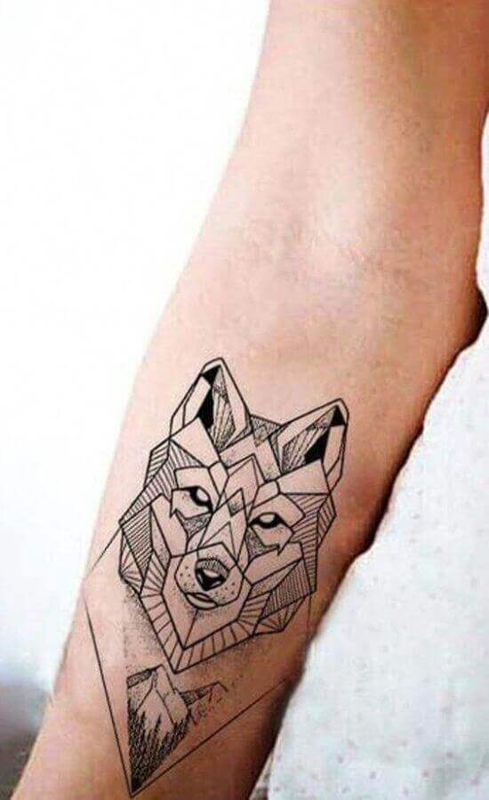 Best Geometric Wolf Tattoo Designs on arm