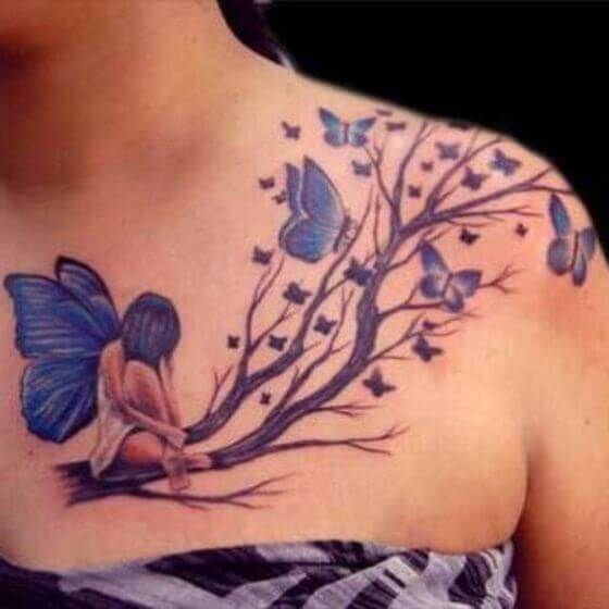 Butterfly with tree tattoo designs on shoulder