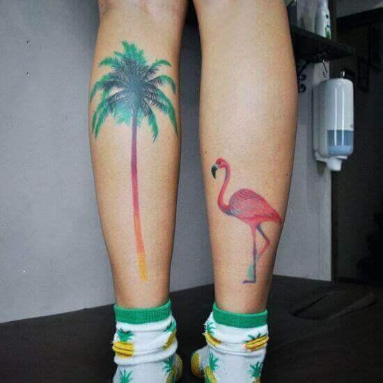 Colored palm tree tattoo