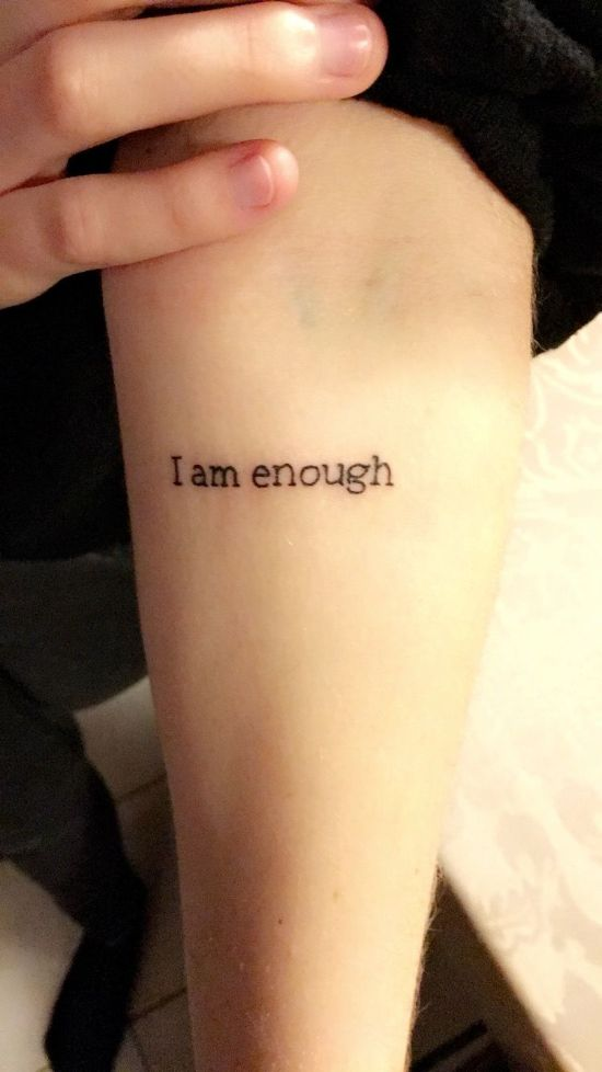 I AM Enough Tattoo on arm
