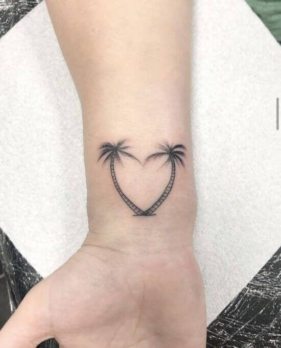 Palm tree with heart tattoo design