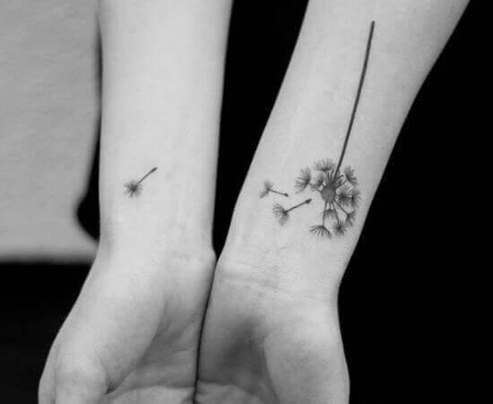 Simple Dandelion Stem tattoos on girl arm