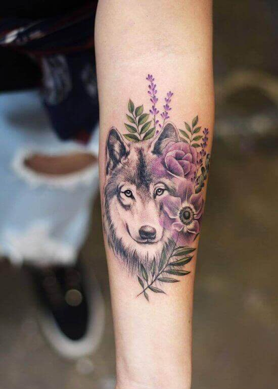 Traditional Wolf Tattoo With Flower