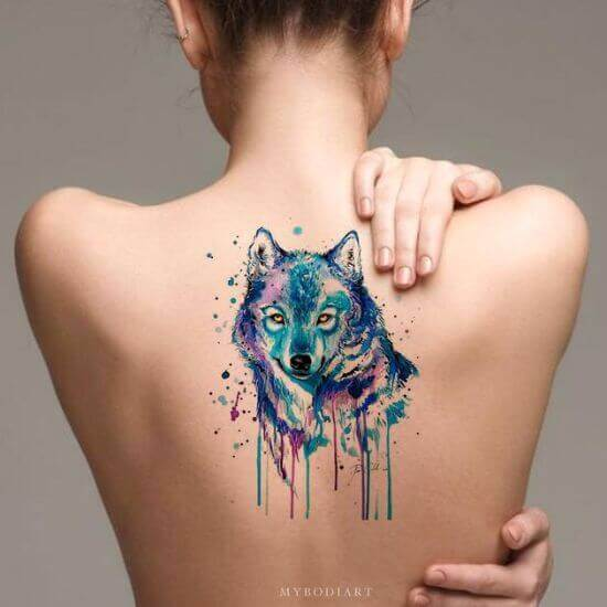 Watercolor Wolf Tattoo ideas
