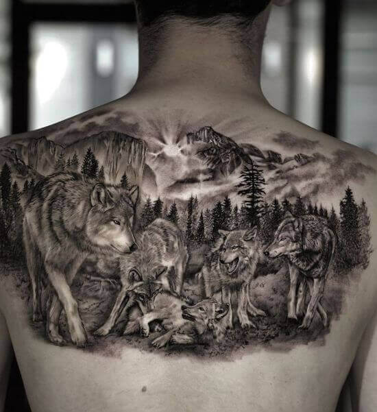 Wolf Pack Tattoo Designs on Back