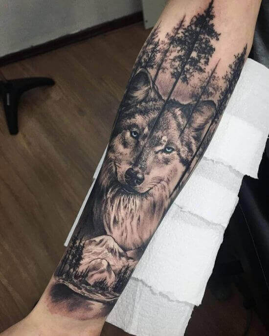 Best Wolf Sleeve Tattoo Designs
