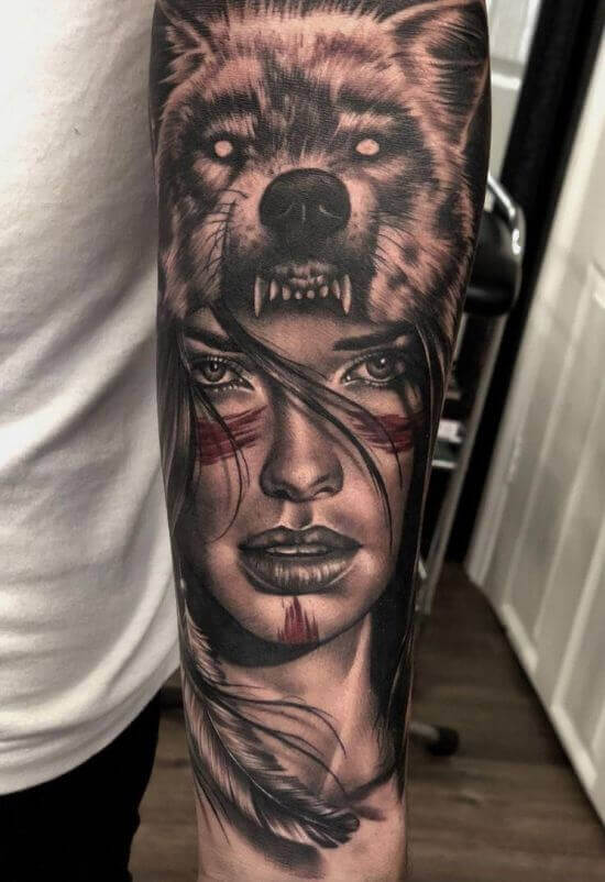Best Wolf With Girl Tattoo Designs