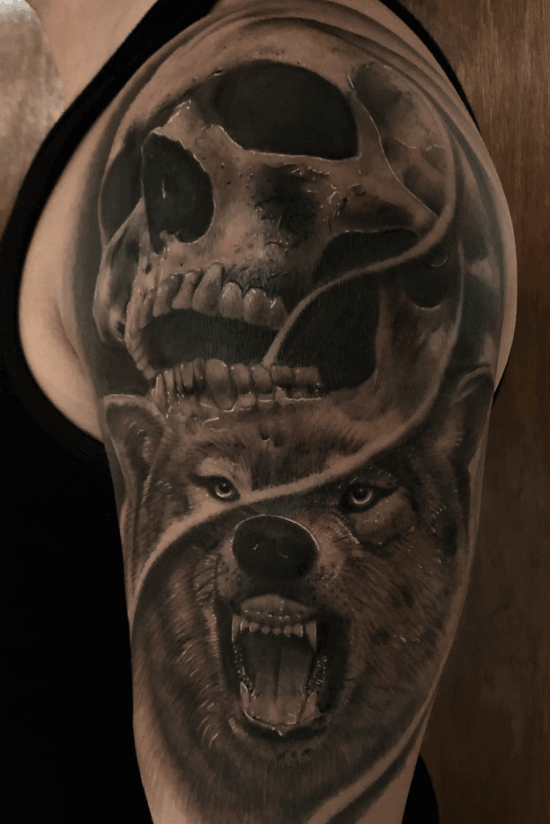 Wolf With Skull Tattoo Designs