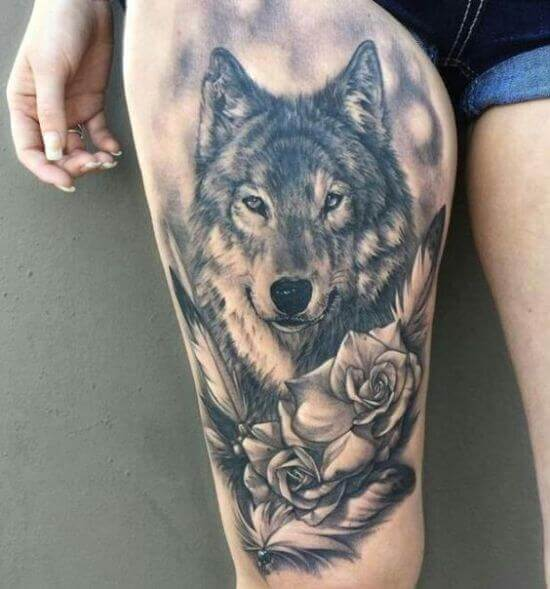 Wolf tattoo designs on girl thigh