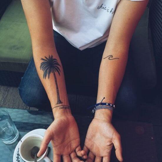 Women Arm palm tree tattoos designs