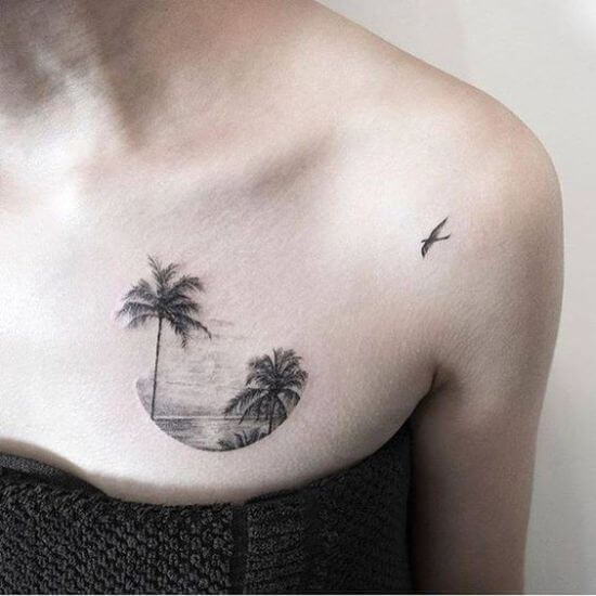 Women Chest palm tree tattoos ideas
