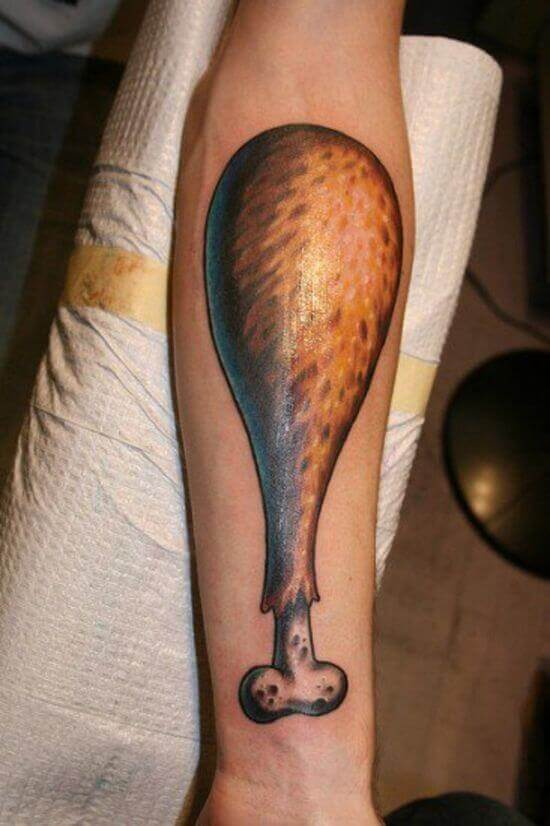 Chicken Leg Piece Tattoo
